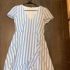 Baby blue and white stripped dress